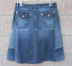 Cute Upcycled Stretch Denim Jean Knee Length Skirt by ThreadedEdge, $22.00