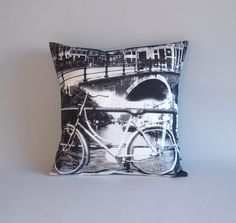 """Amsterdam Bycicle pillow cover - Amsterdam pillow - throw pillow - 16x16"""" - Black and white photography - teal back"""