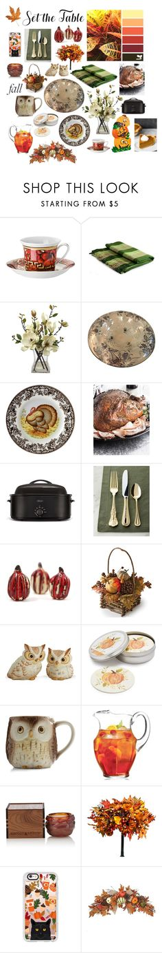 """""""Set the table for fall 🍂"""" by stellastar22 ❤ liked on Polyvore featuring interior, interiors, interior design, home, home decor, interior decorating, Versace, NOVICA, Spode and B. Ella"""