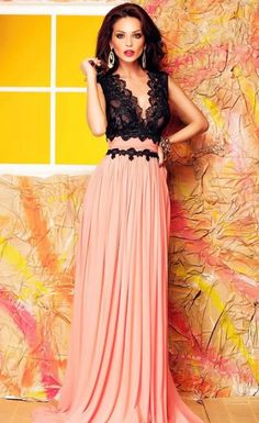 V Neck Lace Bodice Contrast Maxi Evening Dress