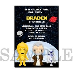 PB0004 STAR WARS PRINTABLE BIRTHDAY PARTY INVITATION CARDS the Star Wars The force awakens