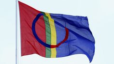 Samisk flagg. Det samiske flagget. Karasjok, Finnmark.