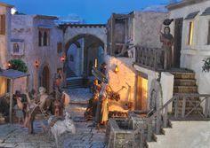 Asociación de Belenistas de Badajoz - Belén 2011-2012 Christmas Nativity Scene, Christmas Villages, Christmas Carol, Medieval Fantasy, Fairy Houses, Model Homes, Rome, Painting, Image