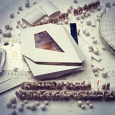Architectural Model - Multifunctional Sports and Event Centre - Behnisch Architekten Architecture Student, Concept Architecture, Futuristic Architecture, Contemporary Architecture, Architecture Design, Architecture Board, Instalation Art, Landscape Model, Model Sketch