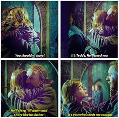 Tonks and Lupin at the Battle of Hogwarts glad they put this in the extended cut. If only they had mentioned that harry was the godfather. Harry Potter Quotes, Harry Potter Love, Harry Potter Universal, Harry Potter Fandom, Harry Potter World, Hogwarts, Tonks And Lupin, Scorpius And Rose, Dream Cast