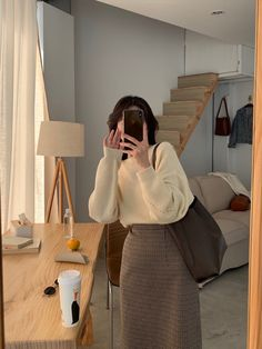 Modest Outfits, Cute Casual Outfits, Modest Fashion, Skirt Fashion, Fashion Outfits, Korean Girl Fashion, Asian Fashion, Sacs Louis Vuiton, Look Office
