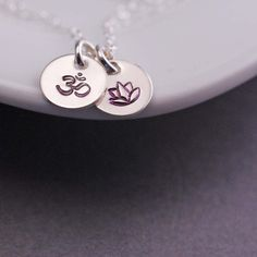 georgiedesigns - Lotus Om Necklace, Sterling Silver Yoga Jewelry, Yoga Necklace Gift, Lotus Charm Necklace, Om Ohm Charm