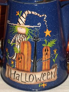 Hand Painted The Perfect Pumpkin Blue Granite Ware