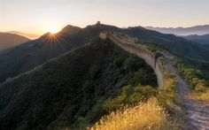 Download wallpapers Great Wall of China, mountains, morning, sunrise, Hebei, China, Bakeshiying