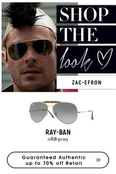 Zac Efron wearing on for Ray Ban Men, Zac Efron, Get The Look, Eyeglasses, Eyewear, Ray Bans, Mens Sunglasses, Copper, Bronze
