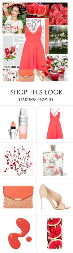 """Summer brunch"" by amethystes ❤ liked on Polyvore featuring Lancôme, Oh My Love, Cost Plus World Market, Lollia, Dune, Gianvito Rossi, Casetify, OPI and Dressunder50"