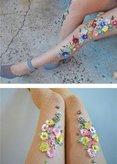 Handmade Fishnet Tights Adorned with Dazzling Bling by Lirika Matoshi