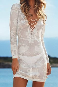 Sexy Criss-Cross Plunging Neckline Cover-Up For Women