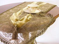 Golden bronze Velvet Table runner Christmas by ClassyInteriorsDeco