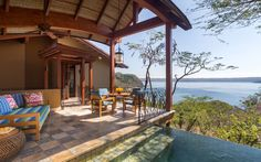 Score: 92.727 Nature meets luxury at thisthistree house-style hideaway situated on a bluff in Guanacaste Province, overlooking the Pacific Ocean and surrounded by eco preserves. Guests get plenty of interaction with wildlife—you might have monkeys hopping on your roof—and can enjoy tropical adventureslike zip lining, surfing, and exploring the Monteverde cloud forest. New to the activity roster ismoonlit stand-up paddle boarding, with LED-litboards.
