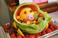 Fruit baby carriage. Baby shower.
