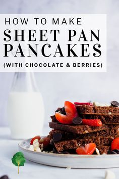 These chocolate sheet pan pancakes are a breeze to make, and perfect for small children who want to help big in the kitchen. They can whisk the batter together in the blink of an eye, and spend most of the time decorating. They're perfect for a simple Valentine's Day breakfast.