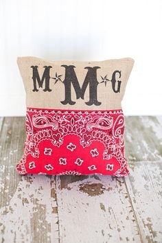 Country Western Monogram Pillow by MonMellDesigns on Etsy, $38.00