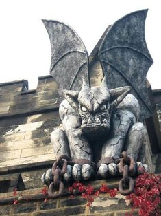 One of two gargoyles that guard the entrance above Eastern State Penitentiary, Philadelphia, PA