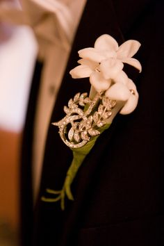 Rhinestone and stephanotis groom's boutonniere from Ariel Yve of Ariel Yve Design's wedding (www.ArielYve.com).  Featured on Platinum Weddings and Your Wedding Day Magazine.