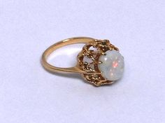 10K Gold Opal Filigree Ring, Size 6.25, Gift for Her, Fine Jewelry, Oval Cut Ring, Opal Solitaire Ring - $240.00 - Vintage Items and Unique Gifts by Rocks of Joy