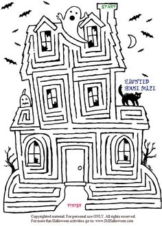 Spooky Halloween Haunted House Maze to print out and color. More fun at www.imHalloween.com