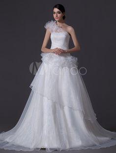 Ivory One-Shoulder A-line Tiered Floral Wedding Dress - Milanoo.com