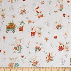 Bunny Tales Bunny Scene White from @fabricdotcom Designed by Lucie Crovatto for Studio E Fabrics, this hoppy print collection is perfect for spring and Easter. This cotton print is perfect for quilting, apparel and home decor accents. Colors include grey, pink, peach, orange, mint, turquoise, green, ivory and white.