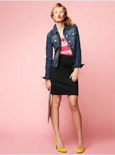 I am actually really loving GAP's pencil skirt+denim jacket styling!