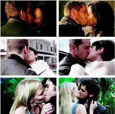 Snowing, OutlawQueen, & CaptainSwan kisses <3