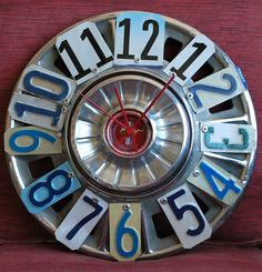 Mustang Themed Room Clock  Ford License Plate Hubcap by dables