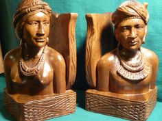 "2825/6-Pair of hand carved wooden bookends-size 4.00"" x 4.00"" x 8.00"" hi - http://get.sm/PpTiu45 #tradebank General Merchandise,Hamilton ON"