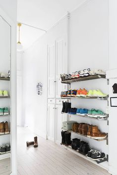 Hallway shelves in Scandinavian Home | Smart Shoe Storage Ideas & Designs For Any Zoom Size