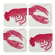 Thornback & Peel - Lobster Coaster - Set of 4 Coaster Set, Decor Crafts, Nars, Home Accessories, Lobsters, Napkin Designs, Table Napkin, House, Interiors