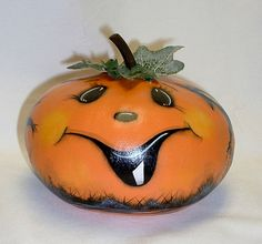 Small Gourd Halloween Jack-O-Lantern  Hand by FromGramsHouse