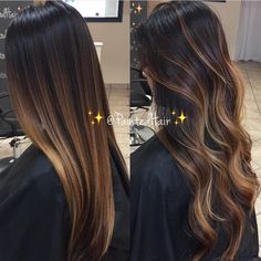 Hair Color Trends 2018 – Highlights : Dark hair w highlights - Lange Haare Ideen Brown Ombre Hair, Brown Hair Balayage, Brown Blonde Hair, Ombre Hair Color, Hair Color Balayage, Brown Hair Colors, Bayalage Dark Hair, Balayage Straight Hair, Dark Hair With Balayage