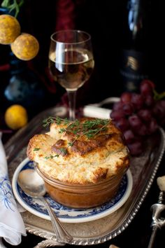 Salmon Soufflé and Scheurebe with Fresh Dill and Gruyere Cheese