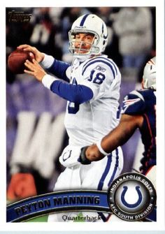 2011 Topps Football Card # 300 Peyton Manning - Indianapolis Colts - NFL Trading Card in a Protective Case! by Topps. $3.95. 2011 Topps Football Card # 300 Peyton Manning - Indianapolis Colts - NFL Trading Card in a Protective Case!