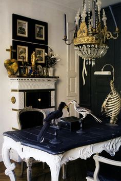 Black table top- what if we did antique white with a silver and antique glaze with black tops and silver glaze?