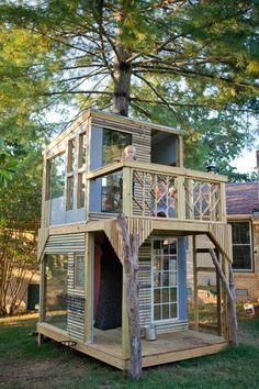 Two Floor Kids Tree House Design, Inspiring DIY Backyard Ideas – kids backyard Backyard Fort, Backyard For Kids, Backyard Ideas, Desert Backyard, Backyard Playground, Tree House Designs, Tiny House Design, Minimalist House Design, Minimalist Home