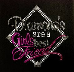 Diamonds Are A Girls Best Friend Design Rhinestone Transfer DIY Iron One Baseball Softball