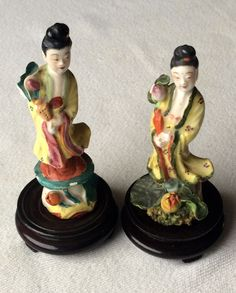 A Pair of Porcelain Chinese Famille Rose Kwan Yin Mini Statue Figurine by 88AsianAntiques on Etsy