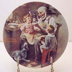 """Norman Rockwell Collectors Plate - """"The Toy Maker"""" 1977 - Official Limited Edition by OldSchoolUpcycles on Etsy Norman Rockwell, Pull Toy, Girl And Dog, Historical Photos, Vintage Decor, Plates, Wall Art, Painting, Etsy"""