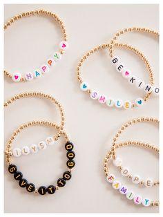 Letter Bead Bracelets, Pony Bead Bracelets, Diy Beaded Bracelets, Summer Bracelets, Handmade Bracelets, Friendship Bracelets, Beaded Necklace, Embroidery Bracelets, Jewelry Bracelets