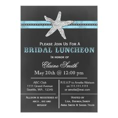 Bridal Shower Chalkboard Invitations chalkboard starfish beach Bridal shower Invite