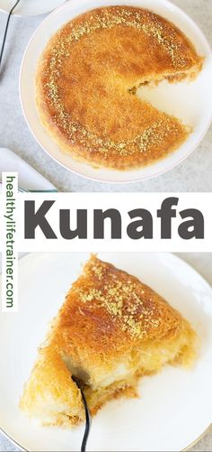 Kunafa or (Knafeh) is a Middle Eastern sweet dessert that is made with a delicious cream (Ashta) filling between two layers of crispy Kunafa (shredded dough). Drizzled with sweet syrup and topped with pistachio slices. It is delicious hot or cold. There are many different styles of Kunafa in the Middle East; there is Kunafa with nuts, cream, chocolate pudding, Nutella or cheese #Kunafarecipe #mediterraneandesserts #easydessert Sweet Desserts, Easy Desserts, Kunafa Recipe, Mediterranean Desserts, Clarified Butter, Chocolate Pudding, Pistachio, Nutella, Healthy Life