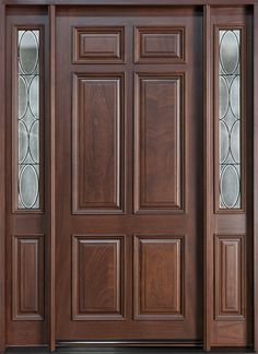 Classic Series Mahogany Solid Wood Front Entry Door - Single with 2 Sidelites - Custom Exterior Doors, Custom Wood Doors, Wood Exterior Door, Rustic Exterior, Front Door Design Wood, Wooden Door Design, Wood Entry Doors, Wooden Front Doors, Entrance Doors