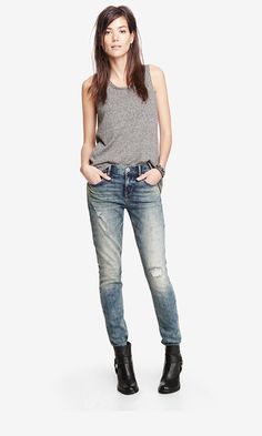 A destroyed skinny jean + boots and you're ready to rock any day. #expressjeans
