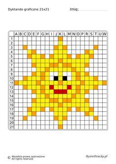 Dyktanda graficzne piksele, nauka kodowania i programowanie dla dzieci - karty pracy do wydruku na lato - słońce Knit Christmas Ornaments, Christmas Knitting, Embroidery Cards, Hand Embroidery Stitches, Twister Quilts, Cross Stitch Patterns, Crochet Patterns, Fair Isle Knitting, Crochet Animals