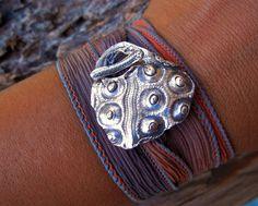 Silk Ribbon Wrap Bracelet, Fine Silver Sea Urchin Bar Toggle Clasp, Yoga Jewelry Wrist Wrap, Nautical Jewelry, HappyGoLicky Original Art